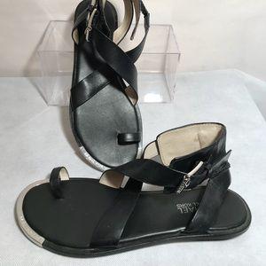 Michael Kors Black Leather Strappy Sandals SZ 7.5